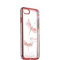 Розовый чехол накладка для iPhone 7 пластиковый со стразами стрекоза