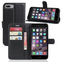 Черный кожаный чехол кошелек для iPhone 7 Plus - Leather Side Book Wallet Case Black