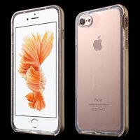 Прозрачный силиконовый чехол для iPhone 7 с золотистым бампером