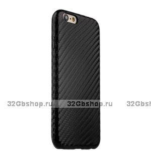 Тонкий силиконовый чехол для iPhone 7 черный карбон