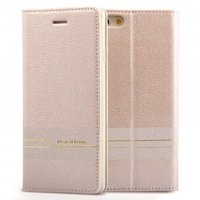 Кожаный чехол книга кошелек для iPhone 7 / 8 золотистый - Peacocktion Venus Series Gold