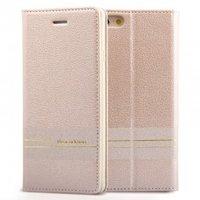 Кожаный чехол книга кошелек для iPhone 7 золотистый - Peacocktion Venus Series Gold
