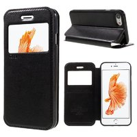 Черный чехол книжка с окошком на iPhone 7 - Ulike Window Leather Case Black for iPhone 7
