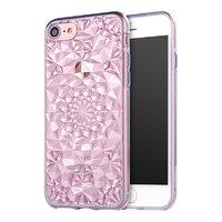 Фиолетовый прозрачный силиконовый 3D чехол для iPhone 7 бриллиант - 3D Diamond Purple Transparent Case