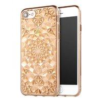 Золотой прозрачный силиконовый 3D чехол для iPhone 7 бриллиант - 3D Diamond GoldTransparent Case