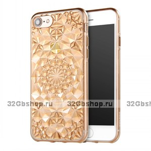 Золотой прозрачный силиконовый 3D чехол для iPhone 7 / 7s бриллиант - 3D Diamond GoldTransparent Case