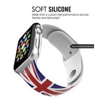 Силиконовый ремешок для Apple Watch 42мм с рисунком флаг Великобритании