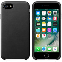 Черный кожаный чехол для Apple iPhone 7 Leather Case Black