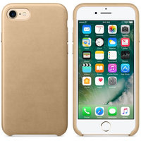 Золотистый кожаный чехол для Apple iPhone 7 Leather Case Gold