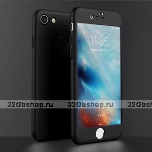 Двухсторонний пластиковый чехол 360 для iPhone 7 / 7s черный Soft-touch с защитным стеклом