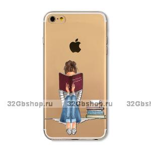 Прозрачный силиконовый чехол для iPhone 7 / 7s - Transparent Silicone Case с рисунком Девушка с книгой