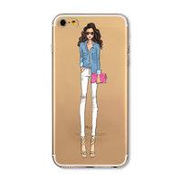 Прозрачный силиконовый чехол для iPhone 7 - Transparent Silicone Case с рисунком Девушка