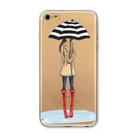 Прозрачный силиконовый чехол для iPhone 7 / 8 - Transparent Silicone Case с рисунком Девушка с зонтом