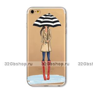 Прозрачный силиконовый чехол для iPhone 7 - Transparent Silicone Case с рисунком Девушка с зонтом