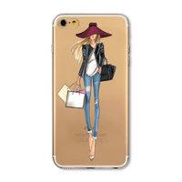 Прозрачный силиконовый чехол для iPhone 7 / 8 - Transparent Silicone Case с рисунком Девушка в шляпе