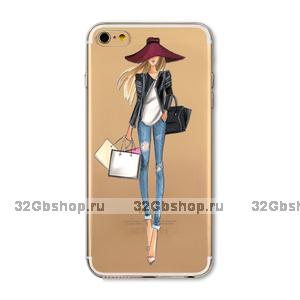 Прозрачный силиконовый чехол для iPhone 7 - Transparent Silicone Case с рисунком Девушка в шляпе