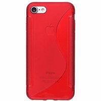 Силиконовый чехол для iPhone 7 красный с волной - S Line Wave TPU Silicone Case Red