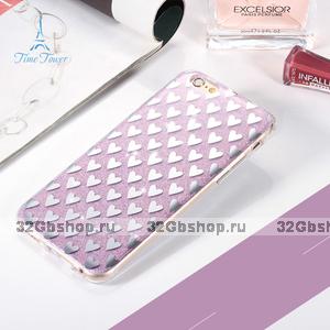 """Силиконовый 3D чехол для iPhone 6s / 6 (4.7"""") фиолетовый с рисунком сердечки"""