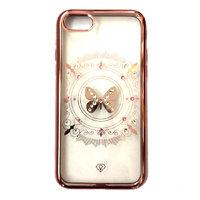 Тонкий прозрачный силиконовый чехол со стразами для iPhone 7 / 8 ободок розовое золото рисунок бабочка