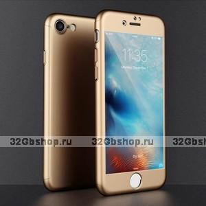 Двухсторонний пластиковый чехол 360 для iPhone 7 / 7s золото Soft-touch с защитным стеклом