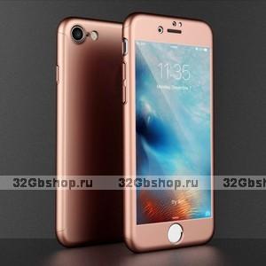 """Двухсторонний пластиковый чехол 360 для iPhone 6 / iPhone 6s (4.7"""") розовое золото ,стекло в комплекте"""