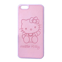Розовый силиконовый чехол с кожаной накладкой Hello kitty для iPhone 7