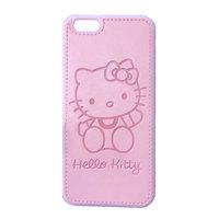 Розовый силиконовый чехол с кожаной накладкой Hello kitty для iPhone 7 / 8