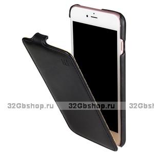 Черный кожаный чехол - флип для iPhone 7 / 7s - iMUCA