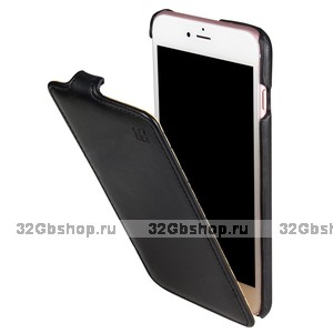 Черный кожаный чехол - флип для iPhone 7 - iMUCA
