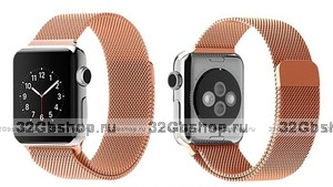 Стальной магнитный ремешок для Apple Watch 38mm браслет миланское плетение Rose gold - Розовое золото