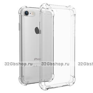 Силиконовый чехол для iPhone 7 прозрачный усиленные углы