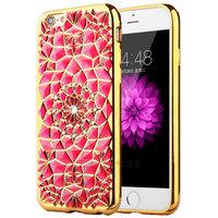 Красный силиконовый чехол для iPhone 7 со стразами и золотым ободком