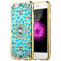 Голубой силиконовый чехол для iPhone 7 / 8 со стразами и золотым ободком
