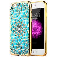 Голубой силиконовый чехол для iPhone 7 со стразами и золотым ободком