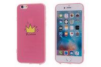 Розовый силиконовый чехол для iPhone 7 Принцесса - Princess рисунок корона