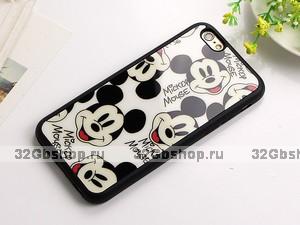 Черный силиконовый чехол для iPhone 7 с рисунком Микки Маус - Mickey Mouse