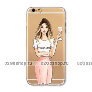 Прозрачный силиконовый чехол для iPhone 7 - Transparent Silicone Case с рисунком Девушка с бокалом