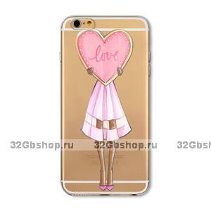 Прозрачный силиконовый чехол для iPhone 7 - Transparent Silicone Case с рисунком Девушка с сердцем