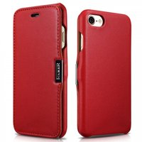 Красный кожаный чехол книга для iPhone 7 - i-Carer Luxury Series Magnet Side-open Red
