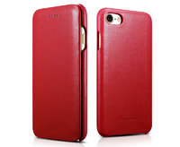 Красный кожаный чехол книга для iPhone 7 - i-Carer Curved Edge Luxury Genuine Leather Case Red