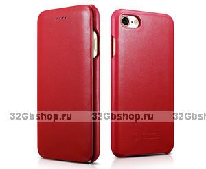 Красный кожаный чехол книга для iPhone 7 / 7s - i-Carer Curved Edge Luxury Genuine Leather Case Red