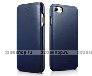 Синий кожаный чехол книга для iPhone 7 / 7s - i-Carer Curved Edge Luxury Genuine Leather Case Blue