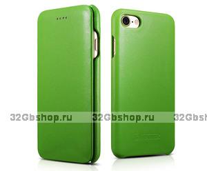 Зеленый кожаный чехол книга для iPhone 7 / 7s - i-Carer Curved Edge Luxury Genuine Leather Case Green