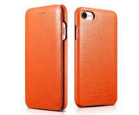 Оранжевый кожаный чехол книга для iPhone 7 - i-Carer Curved Edge Luxury Genuine Leather Case Orange