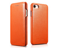 Оранжевый кожаный чехол книга для iPhone 7 / 7s - i-Carer Curved Edge Luxury Genuine Leather Case Orange