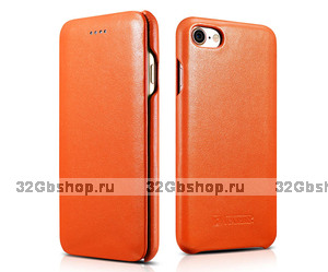 Оранжевый кожаный чехол книга для iPhone 7 / 7s - i-Carer Curved Edge Luxury Genuine Leather Case Orange