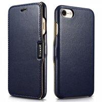 Синий кожаный чехол книга для iPhone 7 / 8 c магнитной защелкой - i-Carer Luxury Series Magnet Side-open Blue