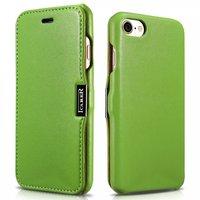 Зеленый кожаный чехол книга для iPhone 7 / 8 c магнитной защелкой - i-Carer Luxury Series Magnet Side-open Green