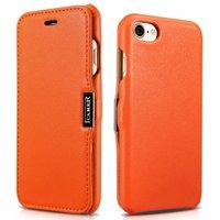 Оранжевый кожаный чехол для iPhone 7 / 8 книга c магнитной защелкой - i-Carer Luxury Series Magnet Side-open Orange