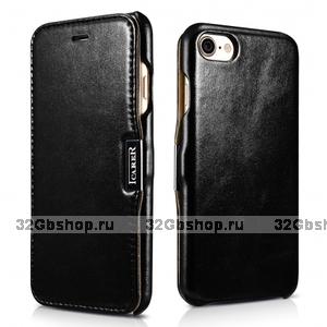 Черный винтажный чехол книжка для iPhone 7 / 7s с магнитной защелкой - i-Carer Vintage Series Side-open Magnetic Case Black